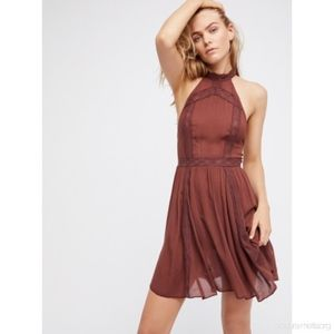 Free People Brown Fit and Flare Dress